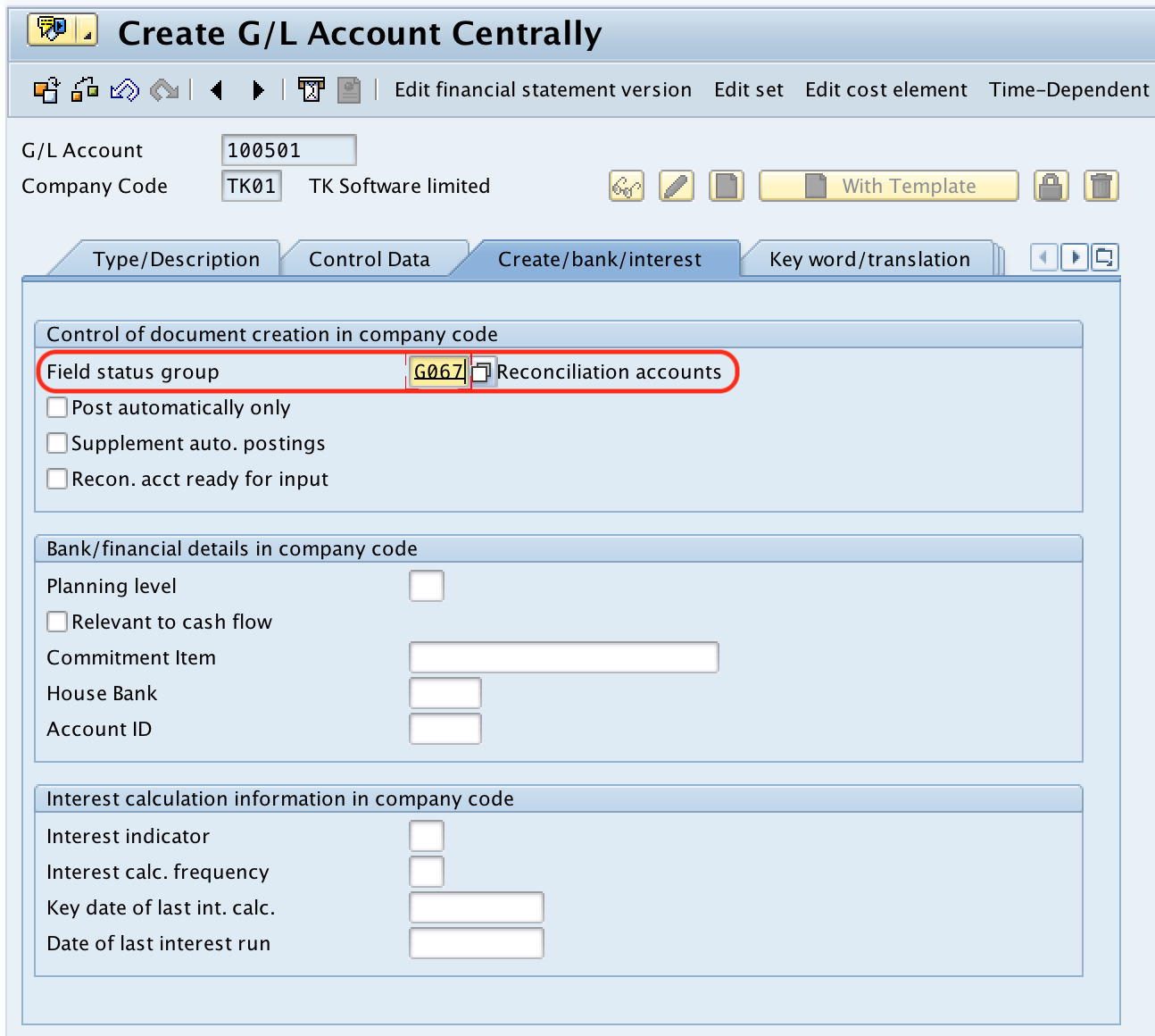 SAP Vendor Reconciliation Account create bank