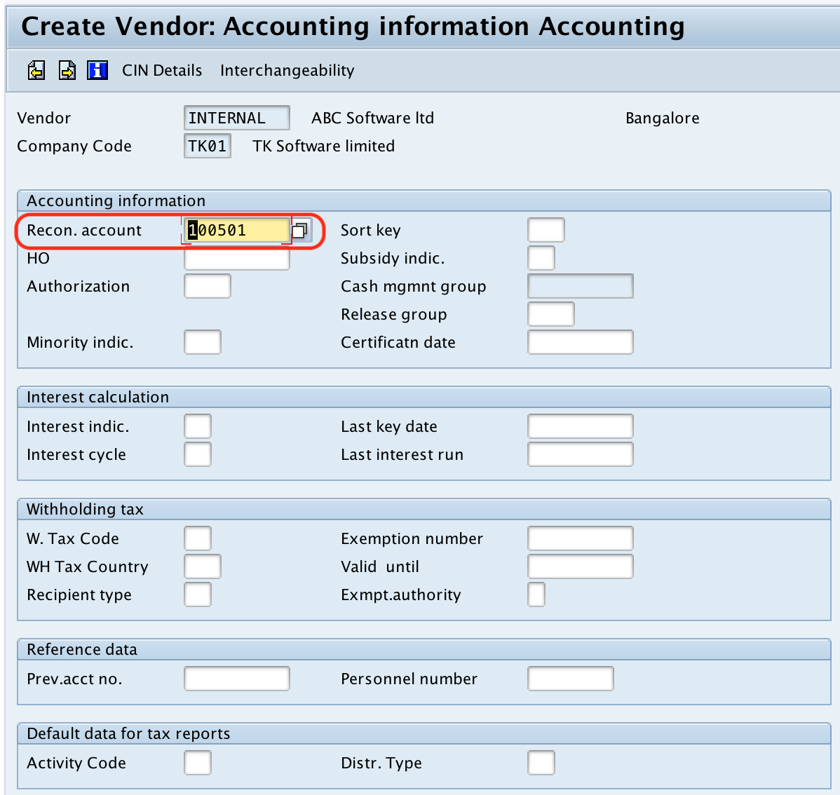 Vendor reconciliation account - vendor code SAP