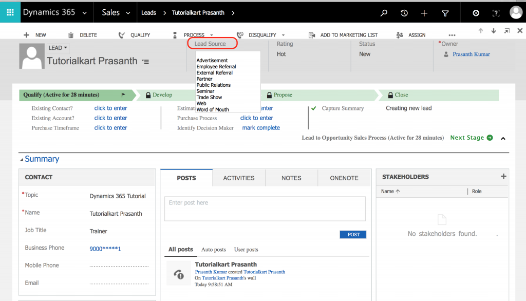 How to add new lead Source in Dynamics 365