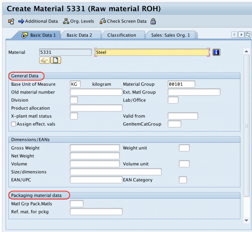basic data - create material SAP