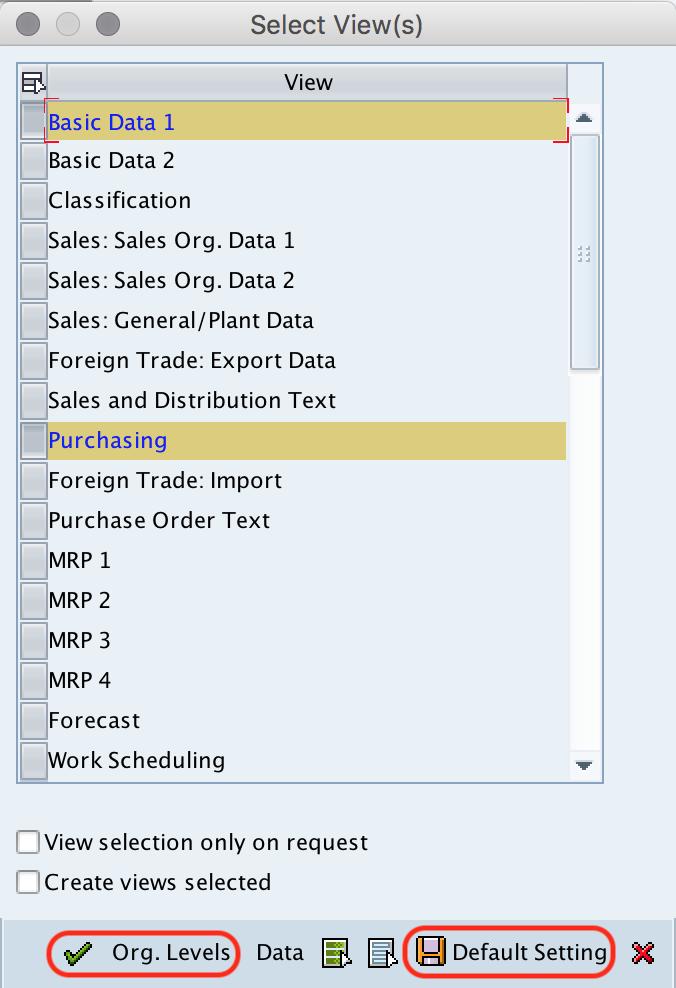 create material master - views SAP