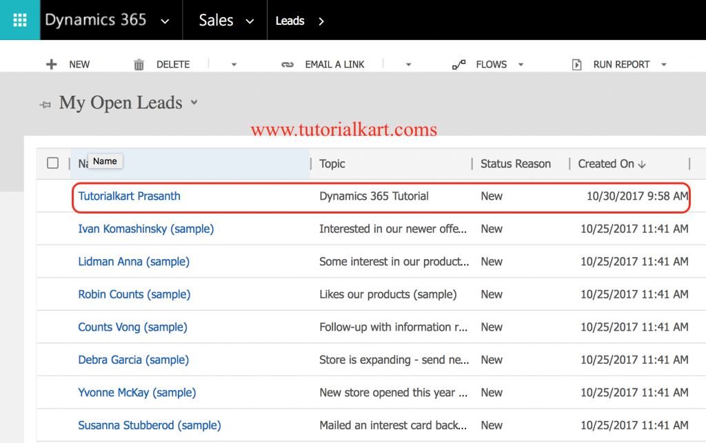 How to create new Lead in Microsoft Dynamics 365 for Sales