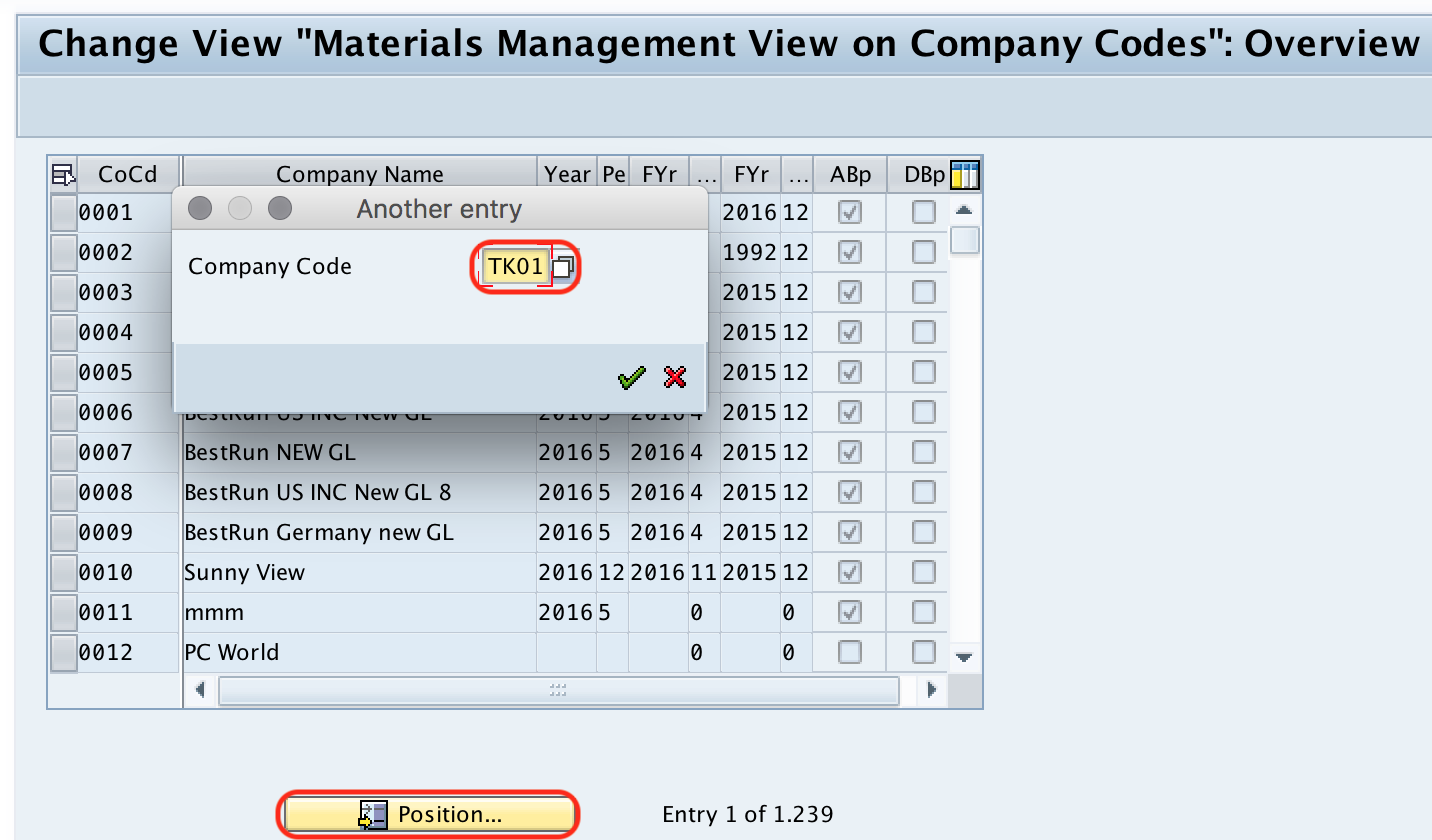 material management view on company code
