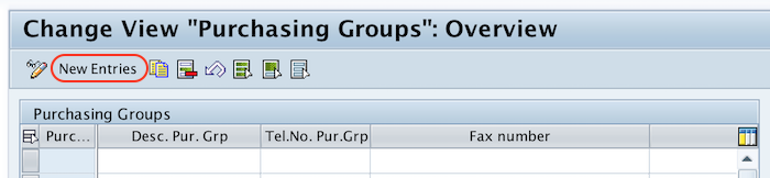purchasing groups new entries SAP