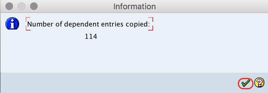 Copied information SAP