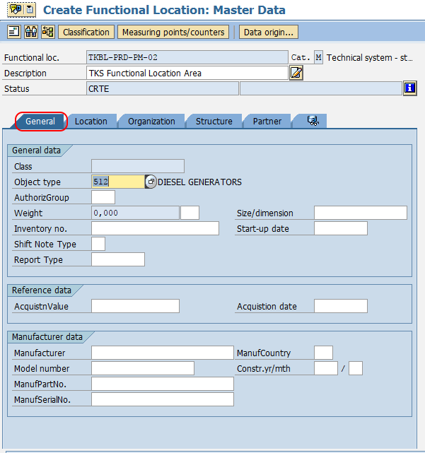SAP PM - Create Functional Location in SAP