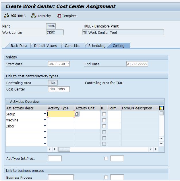 Create Work Centres in SAP