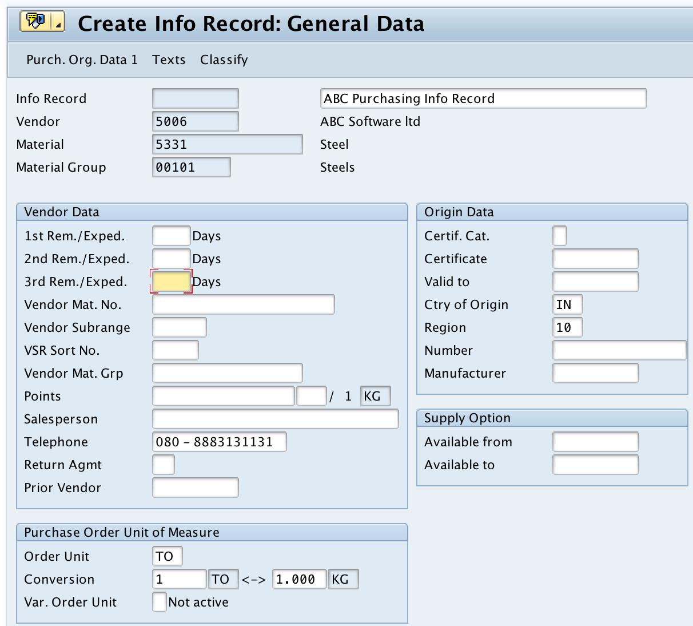 Create info record general data SAP