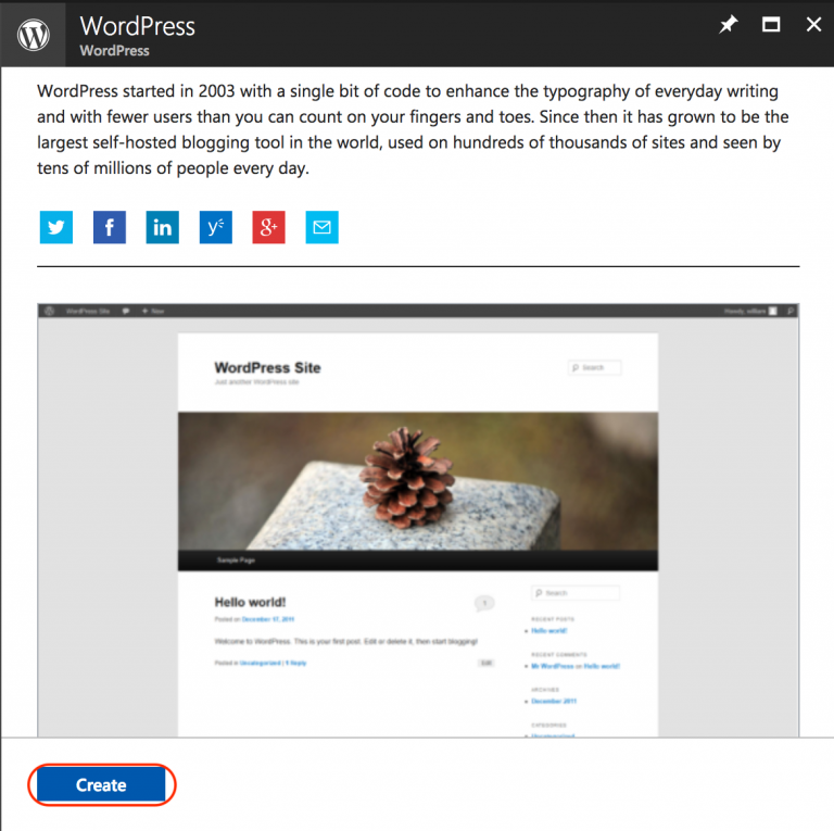 Create WordPress Website using Azure marketplace template