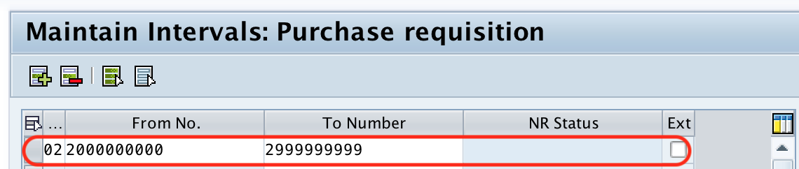 Define number ranges for purchase requisition in SAP