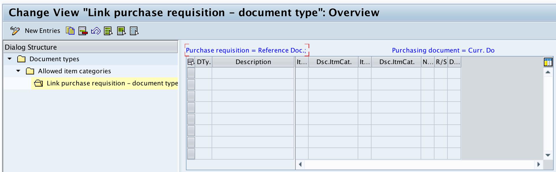 Link PR - document type RFQ new entries SAP