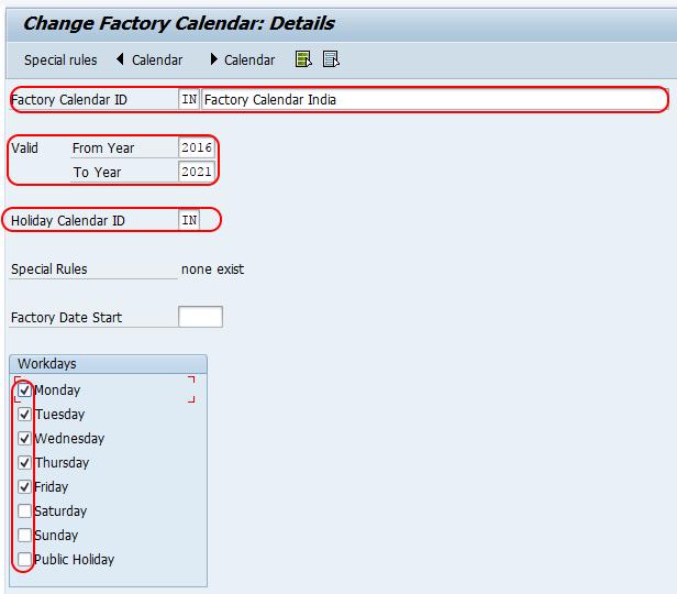 SAP PM - Create Factory Calendar