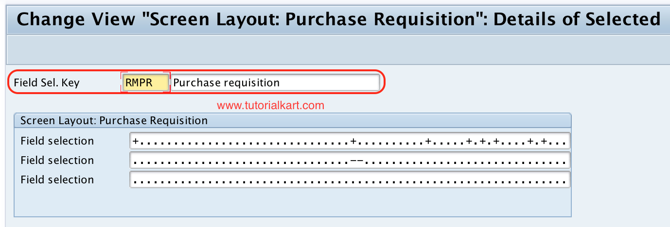 Screen layout: purchase requisition detailed SAP