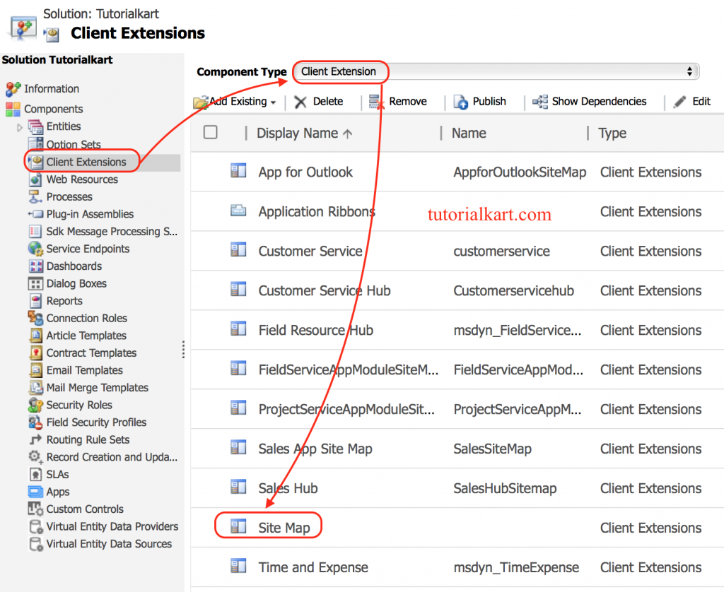 adding entities to sitemap in dynamics 365