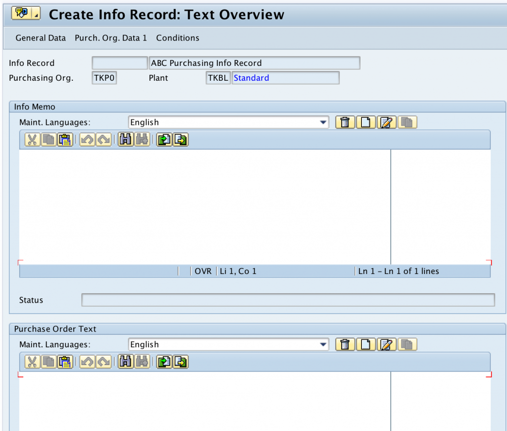 create Purchase Info Record text overview SAP