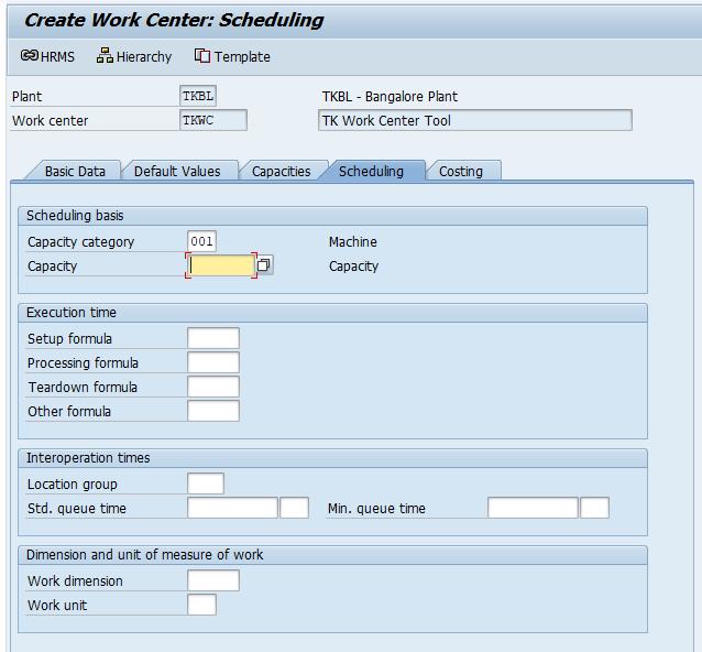 create work center scheduling.