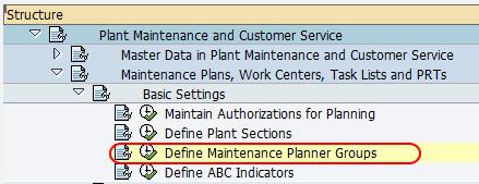 define maintenance planner group navigation