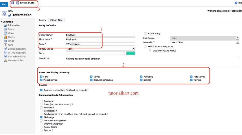 How to create an Entity in Microsoft CRM?