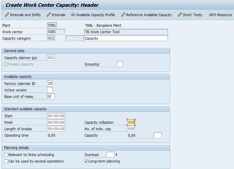work center capacity header in SAP