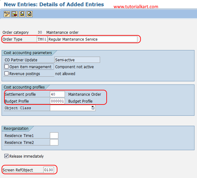 Create Order Types for Maintenance in SAP