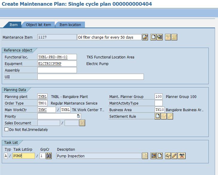Create Single Cycle Maintenance Plan in SAP