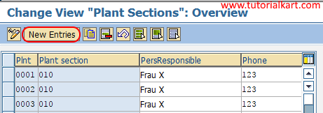 Plant sections new entries
