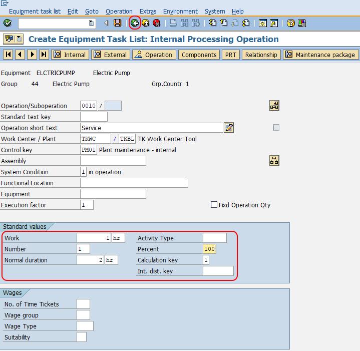 Task list internal processing system SAP