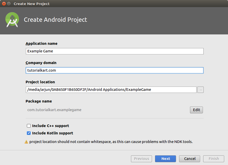 Create Android Application with Kotlin support
