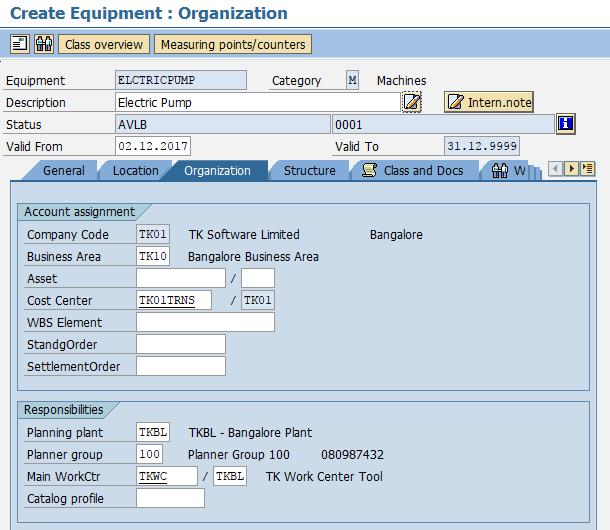 create equipment organization details