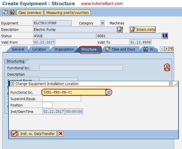 create equipment structure in SAP