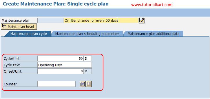 create maintenance plan single cycle plan SAP