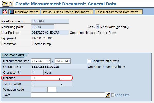 create measurement document in SAP