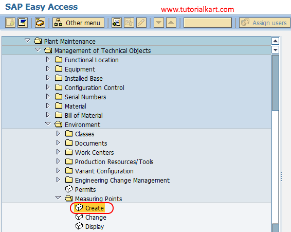 create measuring points create in SAP