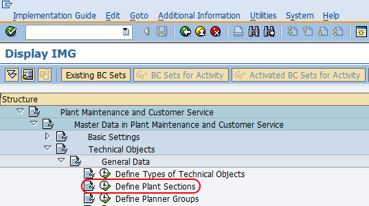 SAP PM - How to Define Plant Sections in SAP
