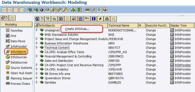 Create infoarea screen SAP BW