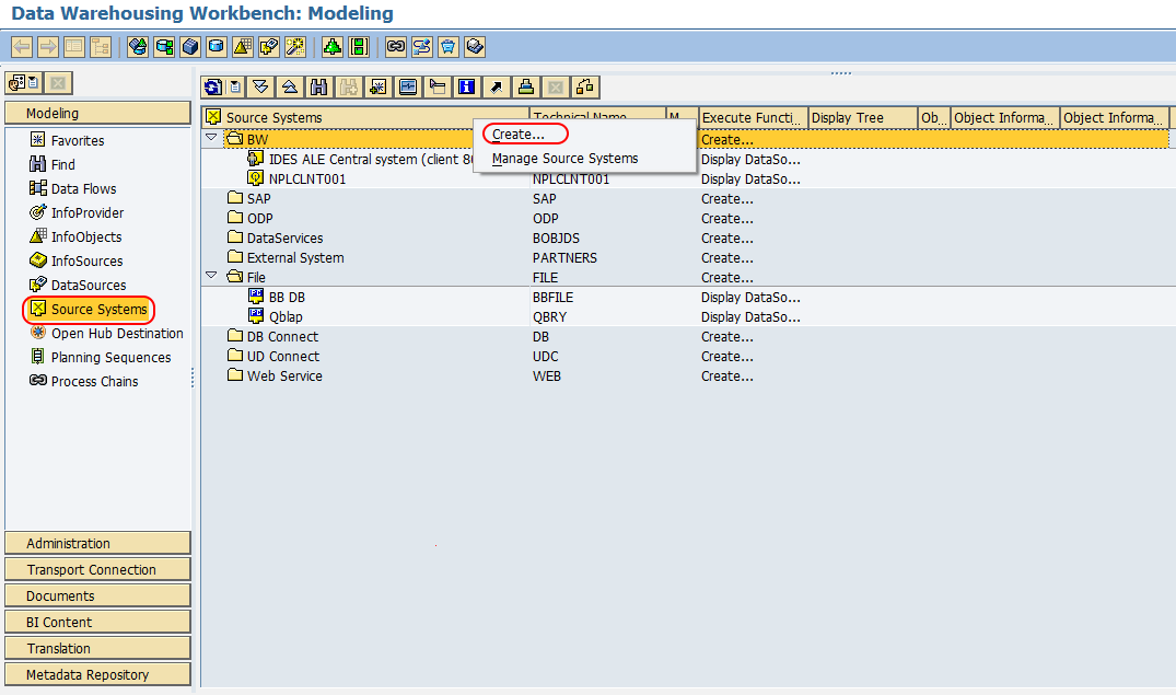 Source systems new entries SAP BW