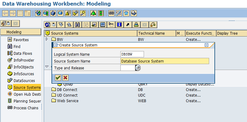 create database source system in SAP BW