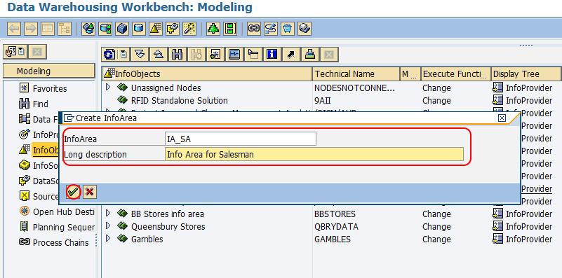 create info area SAP