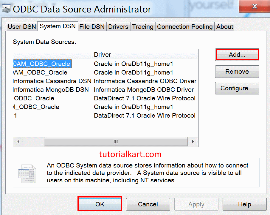 Source ODBC connection.