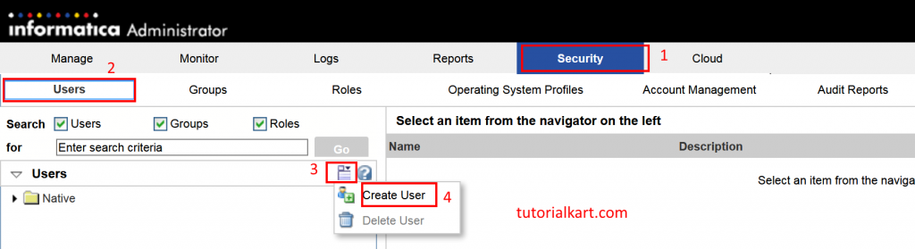 How to create Users and Folders in Informatica PowerCenter