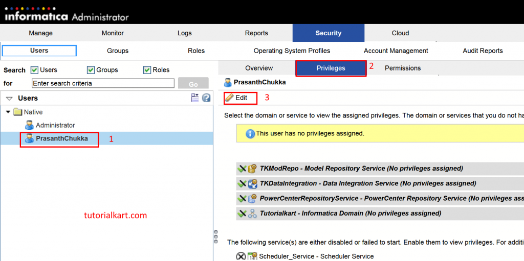 Assigning privileges to Informatica user