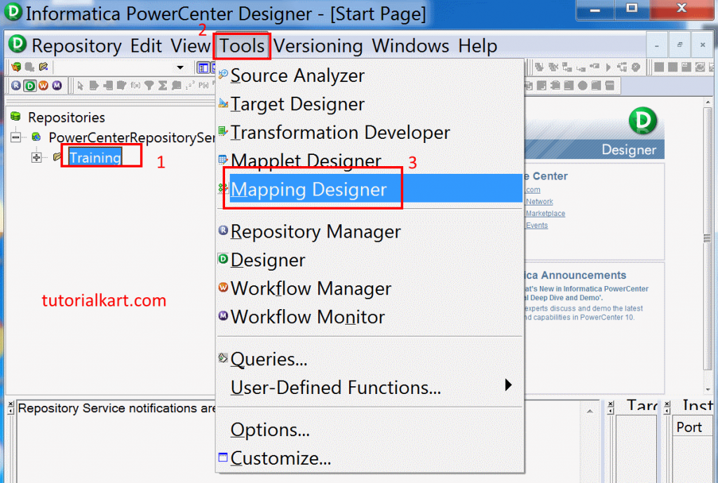 Creating mapping in Informatica PowerCenter 10.1.0