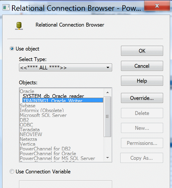 Creating writer connection in Informatica powercenter 10.1.0