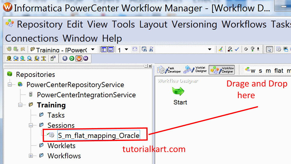 Creating workflow connection in Informatica powercenter 10.1.0