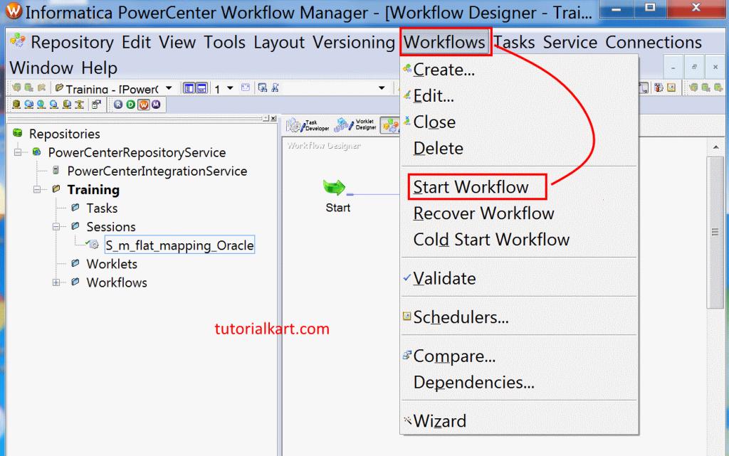 Run workflow connection in Informatica PowerCenter 10.1.0