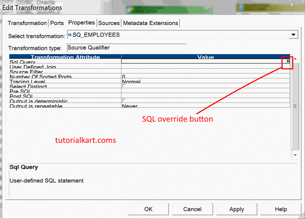 Source Qualifier Transformation in Informatica - Example