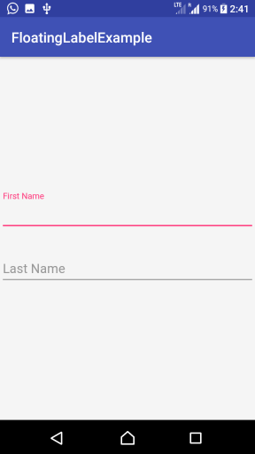 Kotlin Android - Floating Label in EditText using TextInputLayout - Example