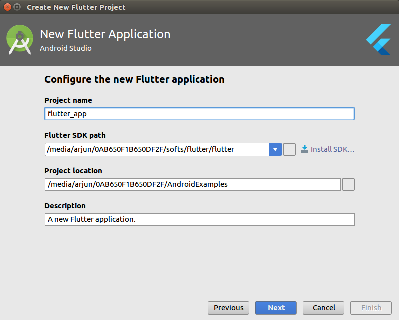 Flutter - Basic Application - Android Studio - Example