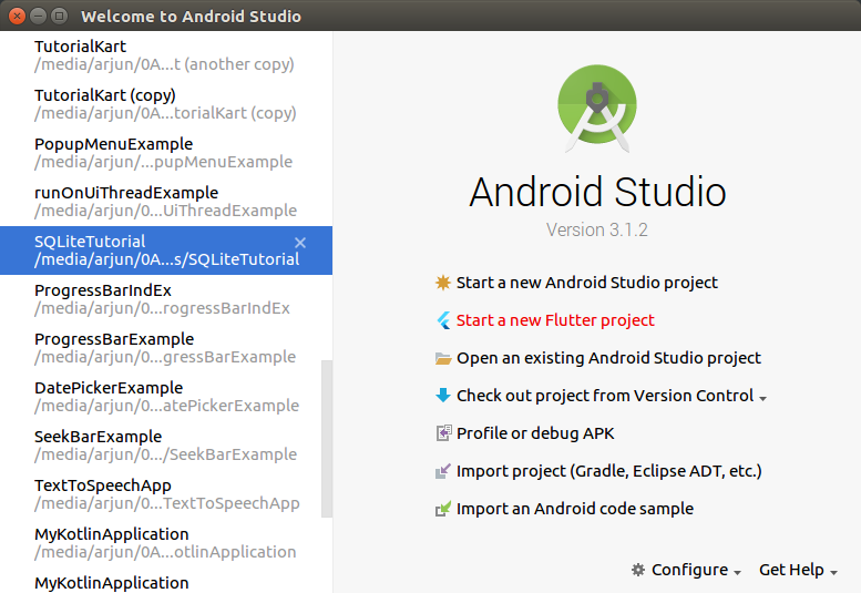 New Flutter Application in Android Studio