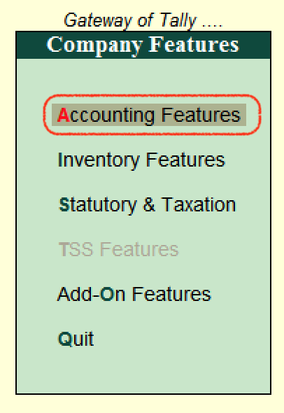 Accounting Features - F11